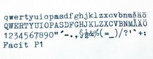Facit P1 typsnitt