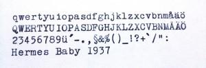 Hermes Baby 1937 typsnitt