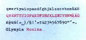 Olympia Monika skriftprov