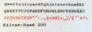 Silver Reed 200 typsnitt