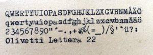 Olivetti Lettera 22 textprov
