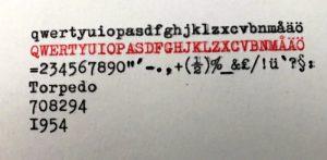 Torpedo skrivmaskin typsnitt