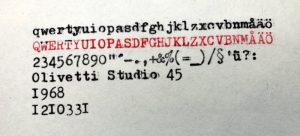 Olivetti Studio 45 textprov
