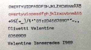 Olivetti Valentine S typsnitt