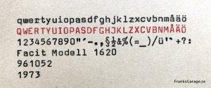 Facit Modell 1620 textprov