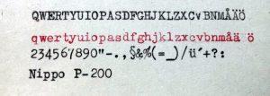 Nippo P-200 typsnitt