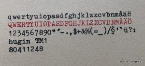 Hugin TM1 typsnitt