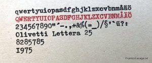 Olivetti Lettera 25 typsnitt