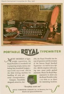 Royal Portable skrivmaskin reklam