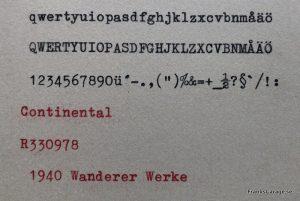 Continental skrivprov